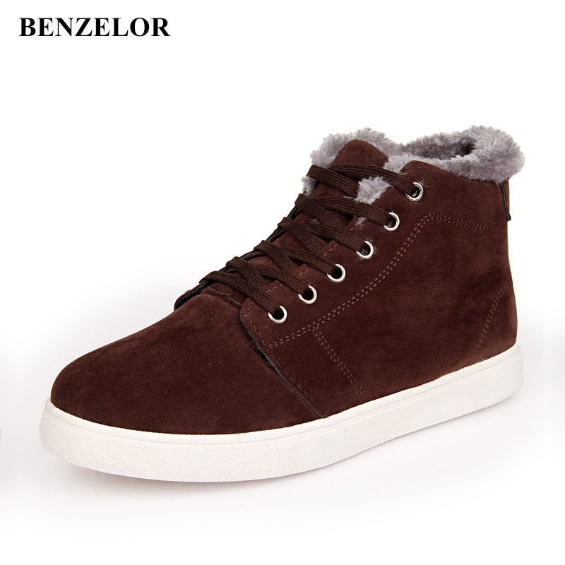 BENZELOR 2018 Winter Fashion With Faux Fur PU Leather Casual Snow Boots Men Shoes Warm Male Ankle Boots Korean Footwear H03