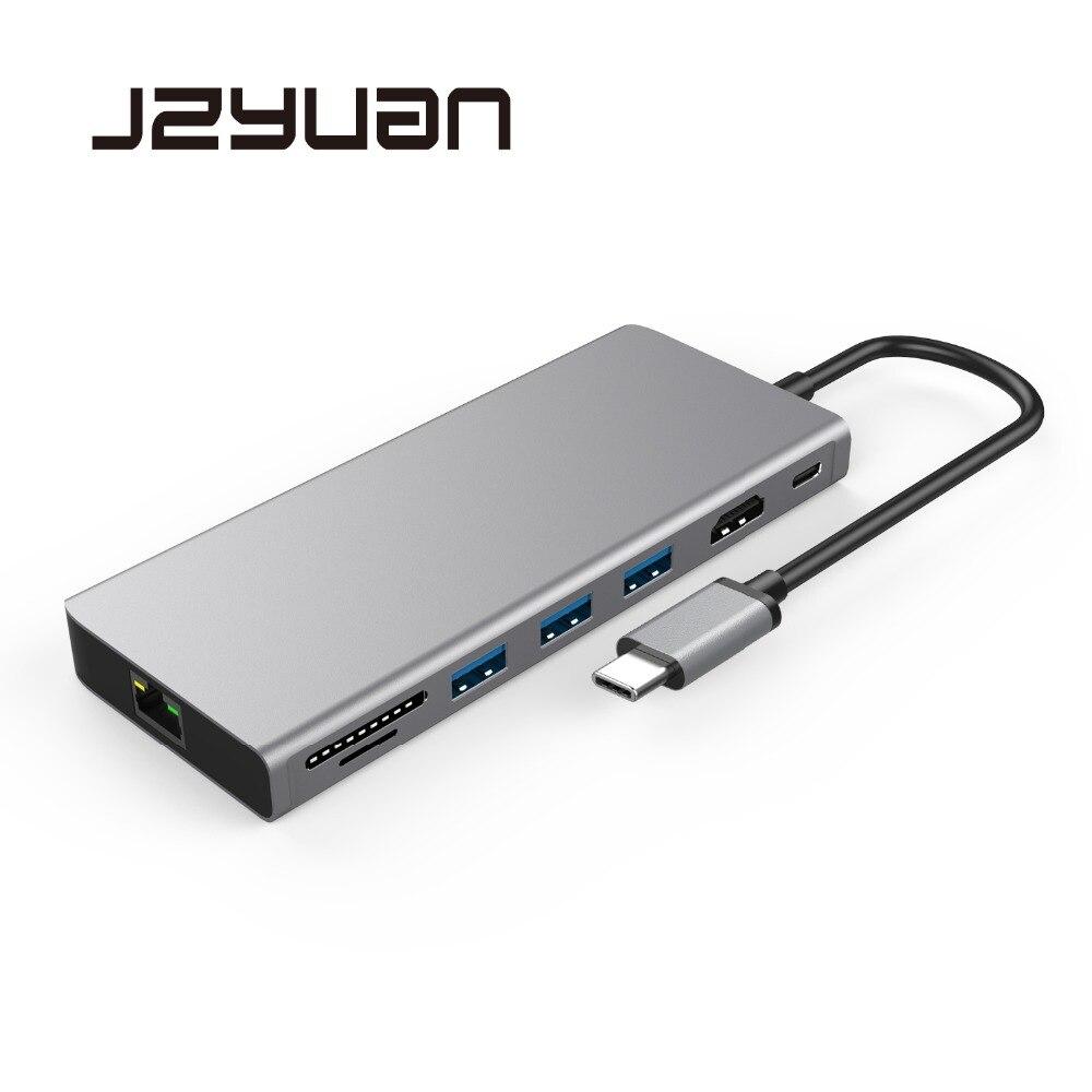 Station d'accueil pour ordinateur portable JZYuan USB USB C vers HDMI 4 K Gigabit Ethernet USB 3.0 Type C station d'accueil pour Macbook Pro Huawei P20 Pro