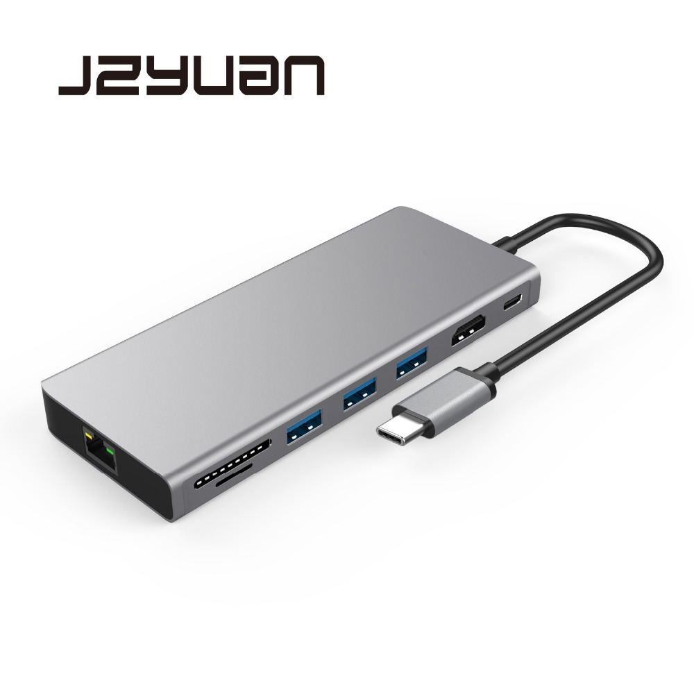цена на JZYuan USB Laptop Docking Stations USB C to HDMI 4K Gigabit Ethernet USB 3.0 Type C Charging Dock For Macbook Pro Huawei P20 Pro