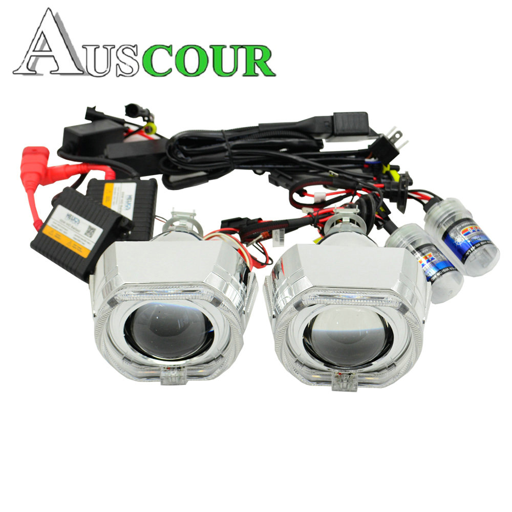 2.5inch Hid Projector Lens Car Assembly AC Bixenon kit DRL square day running angel eyes Projector shroud Hearlight H1 H4 H7 2 5inch bixenon projector lens with drl day running angel eyes angel eyes hid xenon kit h1 h4 h7 hid projector lens headlight