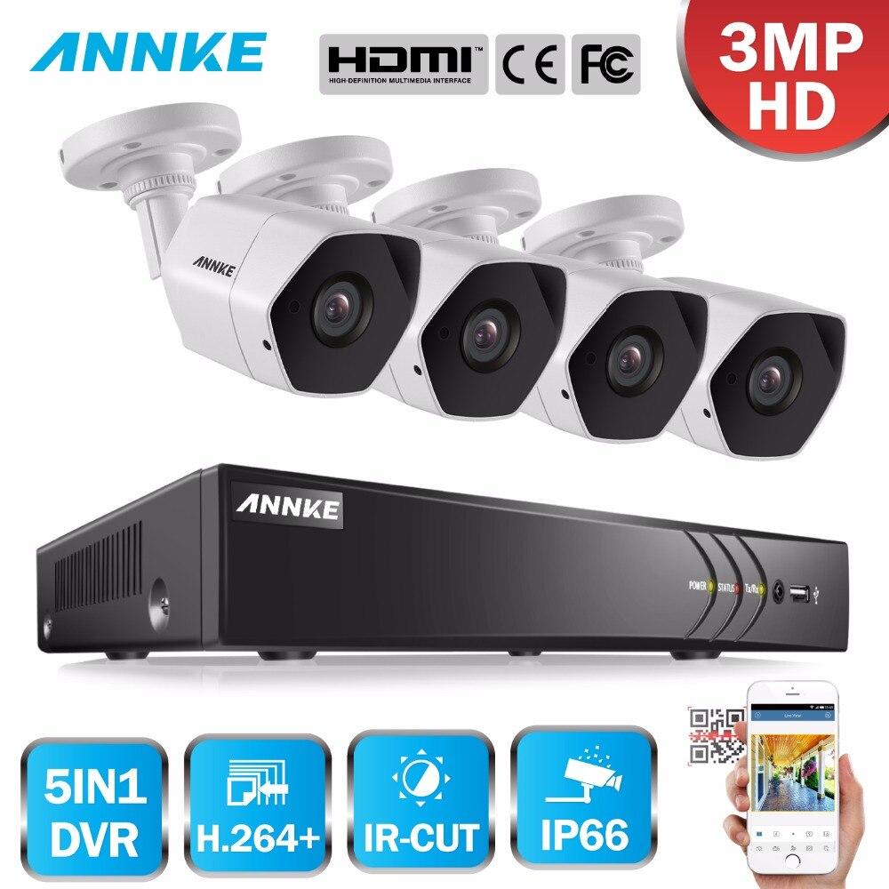 ANNKE Full HD 8CH 3MP 5in1 de Sécurité DVR Système CCTV Kit 4 pcs Intempéries Surveillance Extérieure Bullet Caméra de Sécurité Système kit