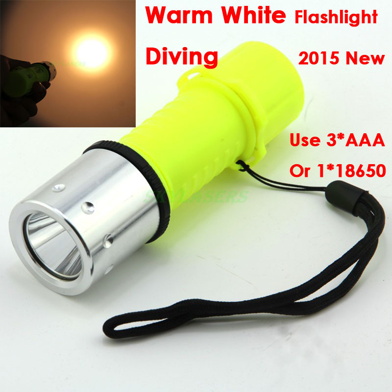 Waterproof CREE XM-L T6 2000LM Warm White Yellow Light LED Diving Flashlight Underwater Lamp Torch Use 3xAAA/18650 Battery