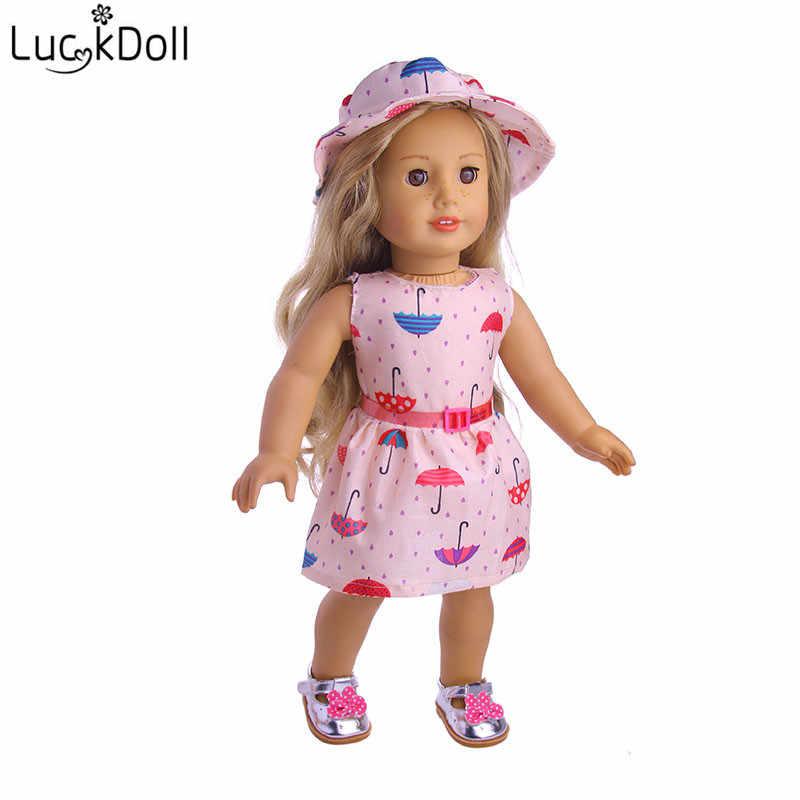 LUCKDOLL vestido con estampado de flores y sombreros 18 pulgadas American43cm bebé muñeca Ropa Accesorios niñas ToysGeneration regalo de cumpleaños