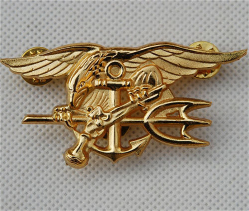 US Navy Seal Eagle Anchor Trident Mini Medal Uniform Insignia Badge Gold Badge Halloween Cosplay Toy