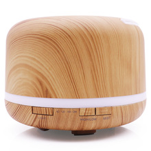 Ultrasonic air humidifier Aroma Essential Oil Diffuser 7 Color Changing LED Lights 500ml Aromatherapy machine with Wood Grain