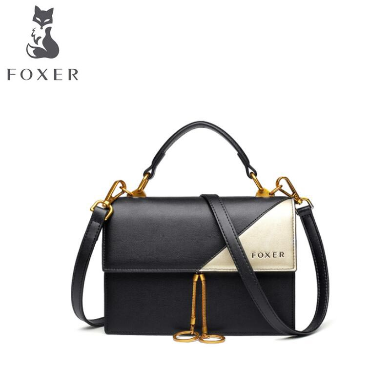 Famous brand top leather women bag 2018 New Color Contrast Tote Fashion Shoulder Bag Messenger Bag contrast lace open shoulder tee