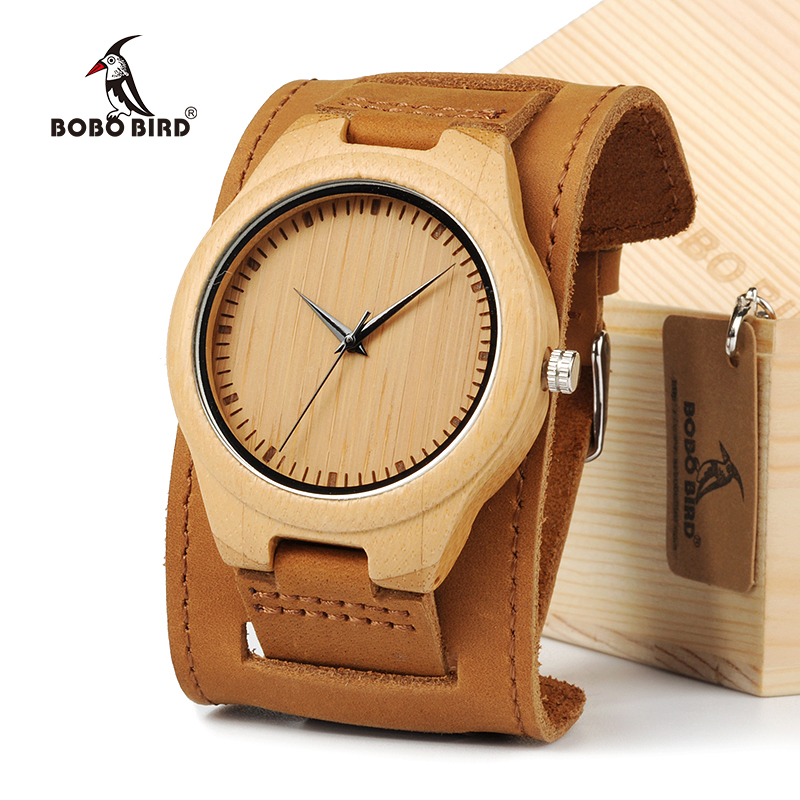BOBO BIRD Men Watch Natural Bamboo Japanese Quartz Wooden Dial Wide Genuine Leather Band Wrist Watch Brown With Gift Box new arrival bamboo men wristwatch classic arabic number dial genuine leather band strap trendy gift quartz watch