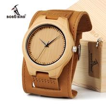 BOBO de AVES Hombres Reloj de Cuarzo Japonés De Bambú Natural De Madera Dial Ancha Banda de Cuero Genuino Reloj de Pulsera de Brown Con la Caja de Regalo