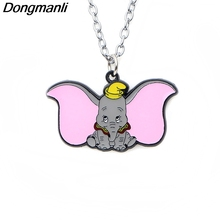 P3718 Dongmanli Fashion Cartoon Dumbo Pendants Necklaces Cute Enamel Metal Pendant Chokers Necklace For Movie Fans Kids Gifts