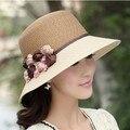Летняя мода цветок соломенная шляпа женская шляпа солнца вс-затенения ведро шляпы шляпа солнца