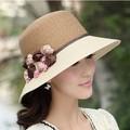 Flor de moda de verano las mujeres sombrero de paja del sol del sombrero del sol-shading sombreros del cubo del sombrero para el sol