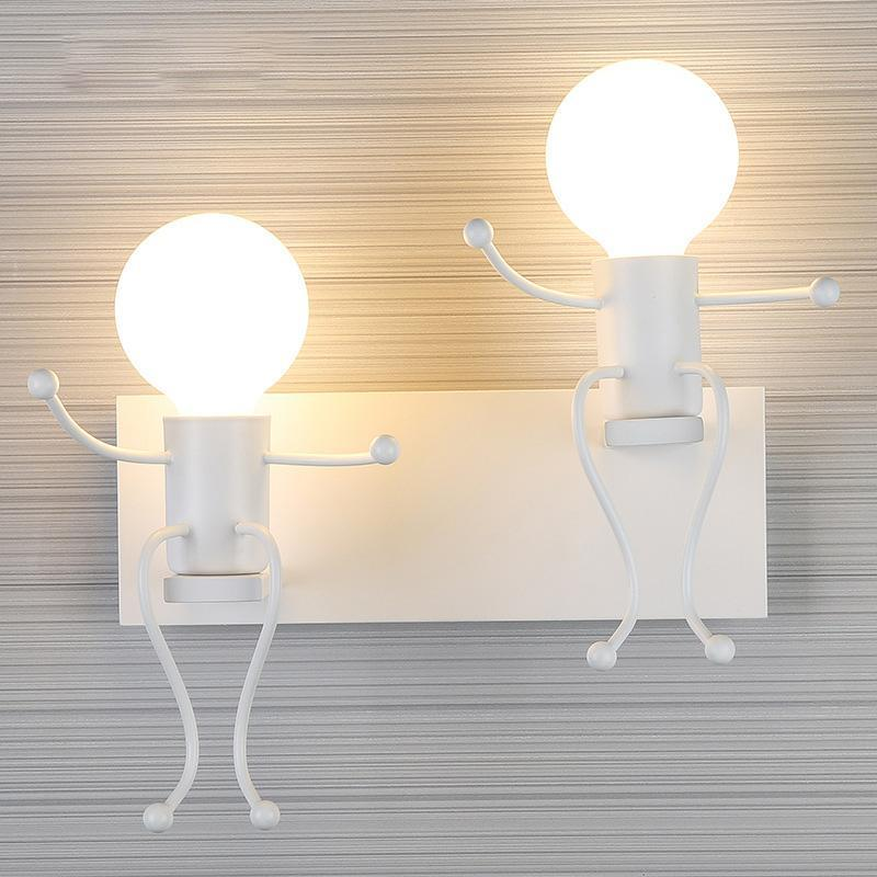 QIACHIP LED Wall Light Iron Style Lamp Bedroom Modern Glass Metal Canopy Sconce Wall Lights Fixtures Retro Vintage Wall Loft