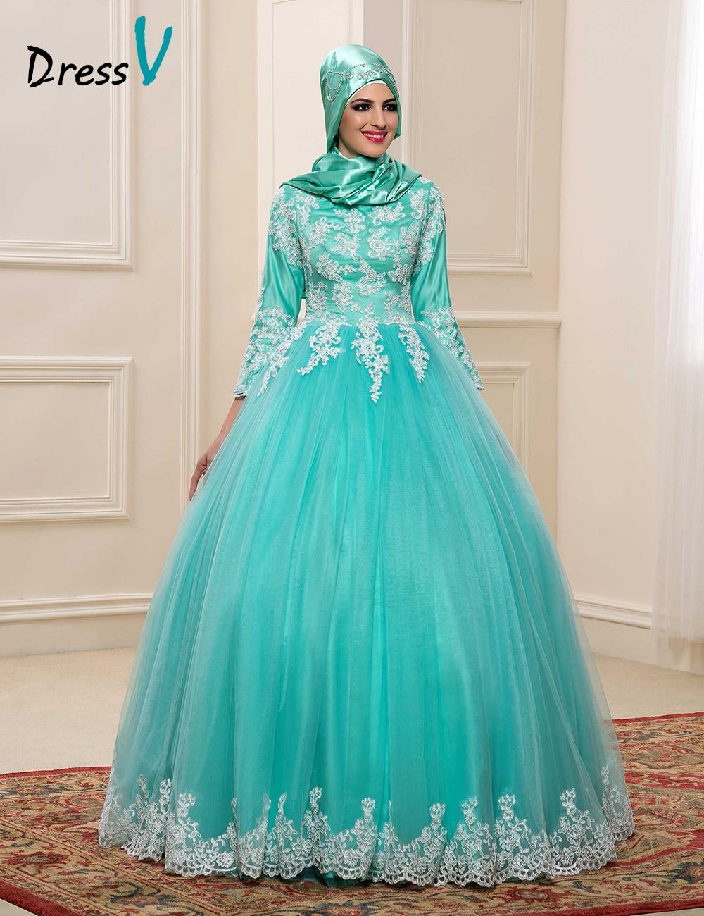 2017 Muslim Wedding Dresses With Hijab High Neck 3 4 Sleeves Mint Color Bridal Kaftan