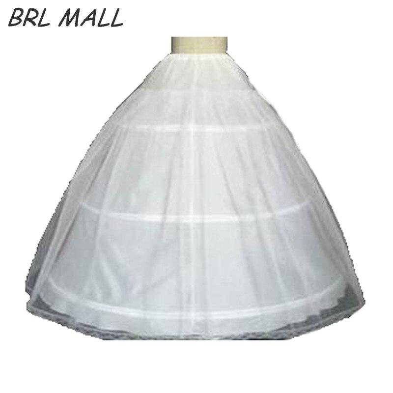 Hot sale 3 Hoop Ball Gown Bone Full Crinoline Petticoats For Wedding Dress white Wedding Skirt
