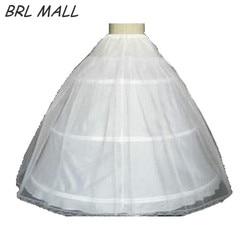 Venda quente 3 Hoop vestido de Baile Óssea Completa Crinolina Anáguas Para O Vestido de Casamento branco Acessórios de Casamento Saia Deslizamento WO01