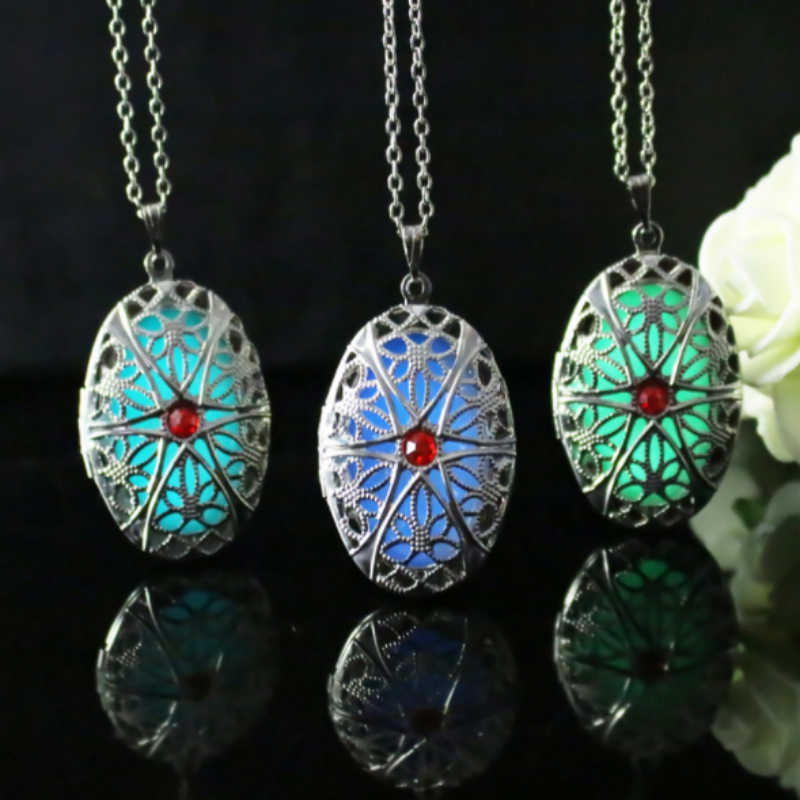 Glowing Oval Flower Pendant Necklace Drop Infinity Stones Locket Antique Silver Luminous Stone Glow In The Dark