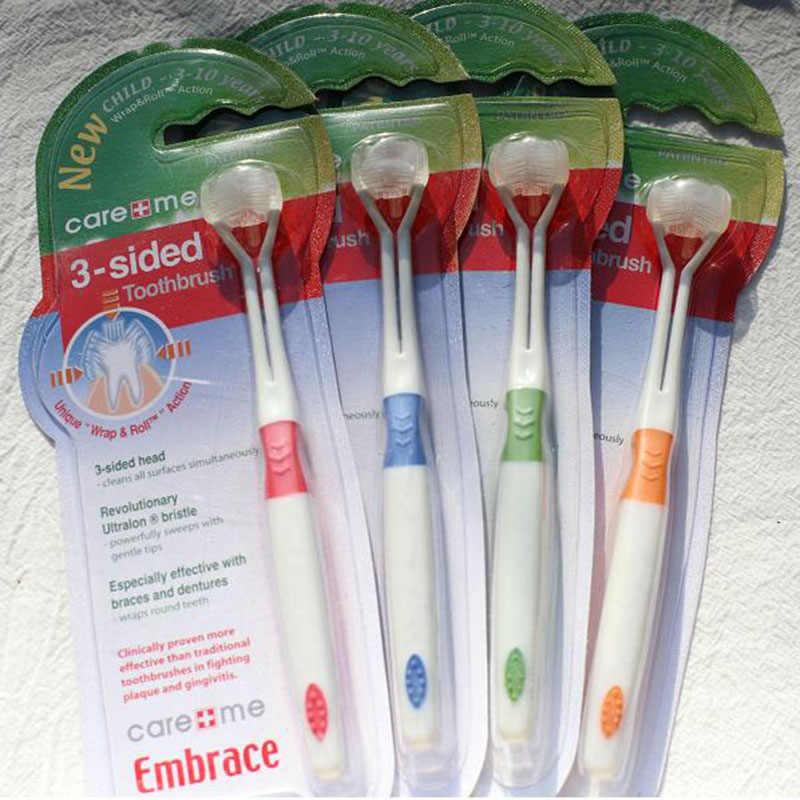 3 ด้าน Ultrafine แปรงสีฟันเด็กขนแปรงนุ่ม 15.2 ซม.เด็กแปรงทำความสะอาดสุขภาพเด็ก Teething สำหรับ 4 สี