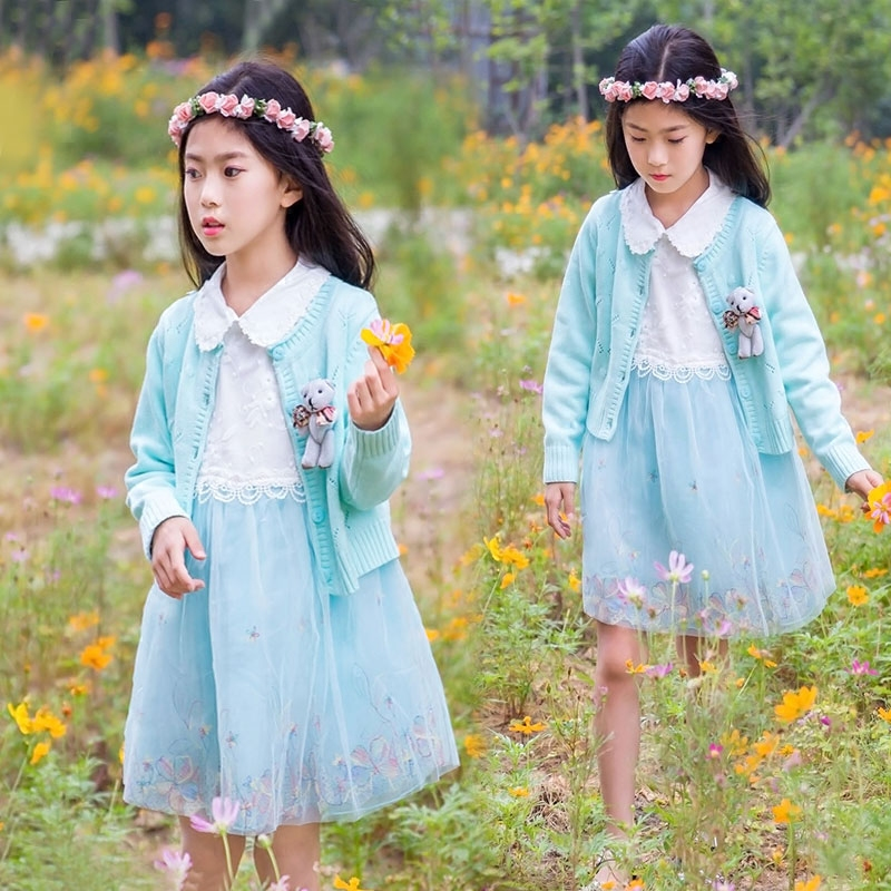 Kids Baby Girl Clothes Sets 2017 new Fashion High Qulity Cotton 2pcs Set With cartoon bear For Girl Children Suit 4 6 8 10 Years fashion kids baby girl dress clothes grey sweater top with dresses costume cotton children clothing girls set 2 pcs 2 7 years