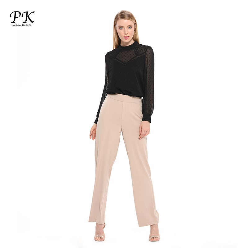 PK Casual Wide Leg   Pants   Women Bottom   Pants     Capris   Female Trousers Woman High Waist Chiffon OL Office Wear Bottom Female