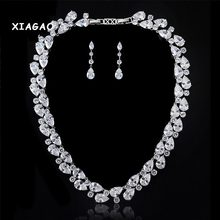 XIAGAO Mona Lisa Colorful high quality yellow golden AAA Cubic Zirconia necklace earring for bride,luxury bridal jewelry set