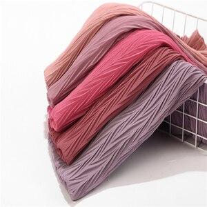 Image 1 - Châle plissé en mousseline de soie pour femmes, grande taille, Turban plissé, longue écharpe enveloppée, 180x85cm, nouvelle collection
