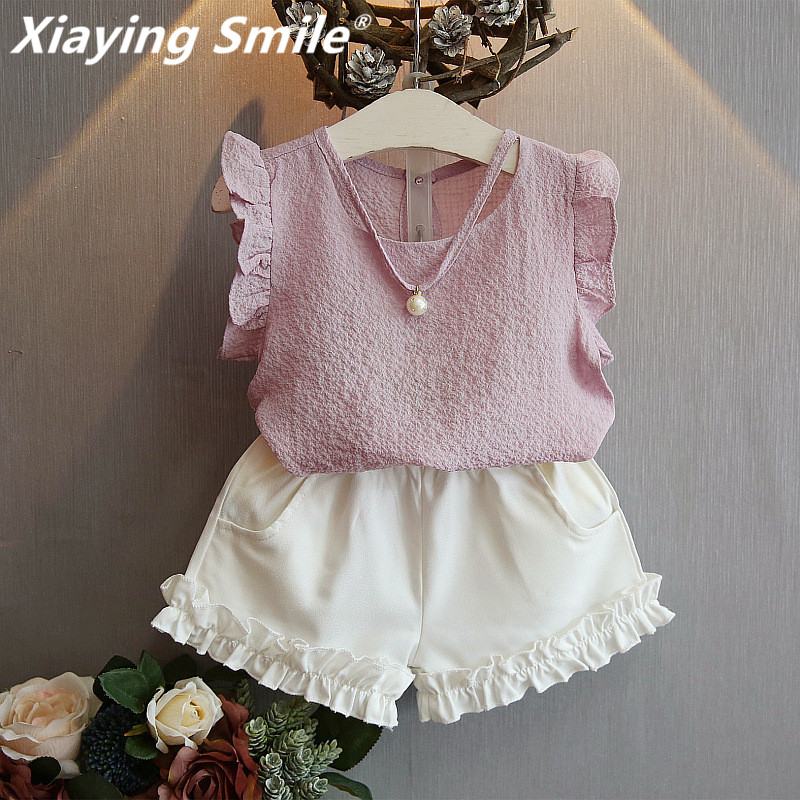 Girls Clothing Sets Summer Sleeveless T-Shirt Kid Short Pants Girl Clothes Shorts Fashion Casual Pearl Children Sets girls in pants third summer