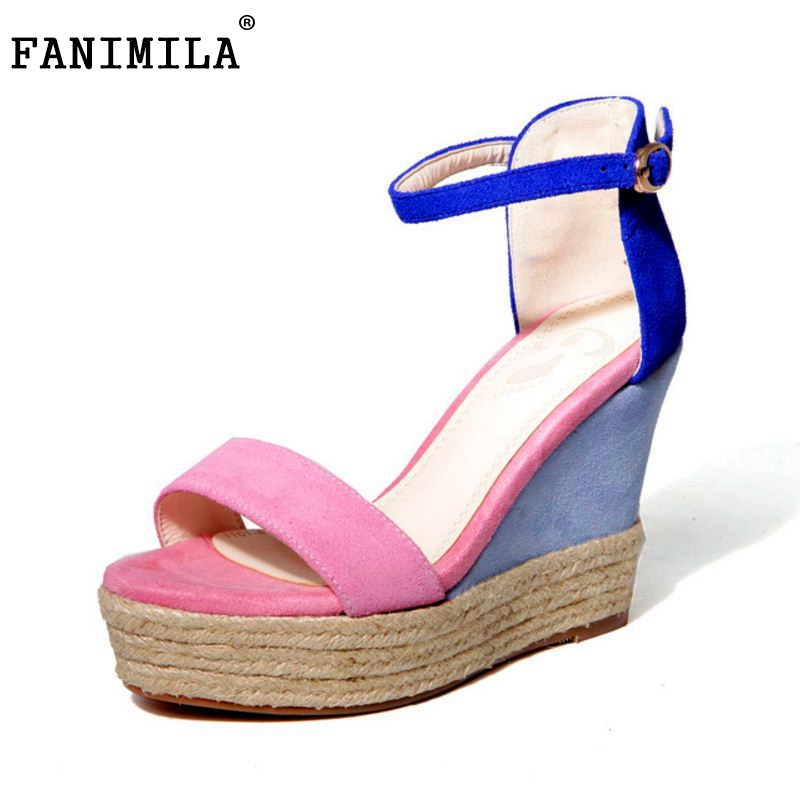women real genuine leather ankle strap wedge sandals platform brand sexy fashion footwear heels heeled shoes size 34-39 R08542