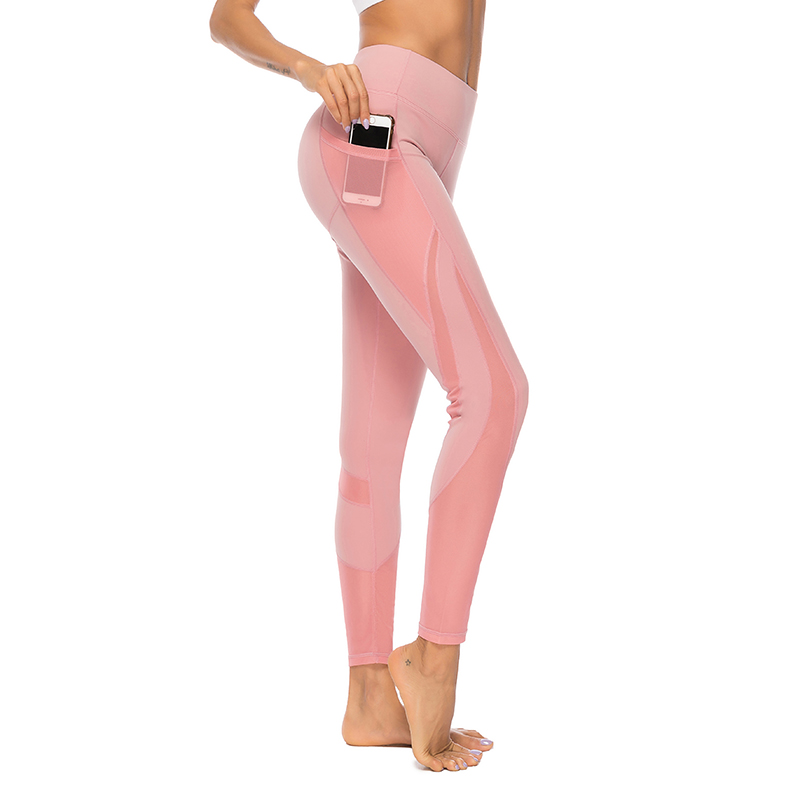 Sexy Mesh   Leggings   For Women Pink Gym Pants Fitness With Pockets Jeggings Leggins Workout Casual Patchwork   Leggings