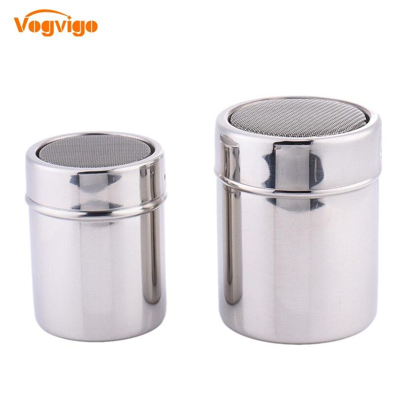 VOGVIGO Powder Duster Stainless Steel Bottle Coffee  Seasoning Bottle Coffee Jar Coffee Sprinkle Sugar Gauze Mesh Bottle