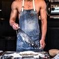 Фартук для женщин  джинсовый ковбойский Семейный комплект для барбекю  хлопковый нагрудник для выпечки  кухонный Мужской фартук для официа...