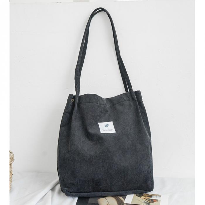 High Capacity Women Corduroy Tote Ladies Casual Shoulder Bag Foldable Reusable Shopping Beach Bag WML99 7