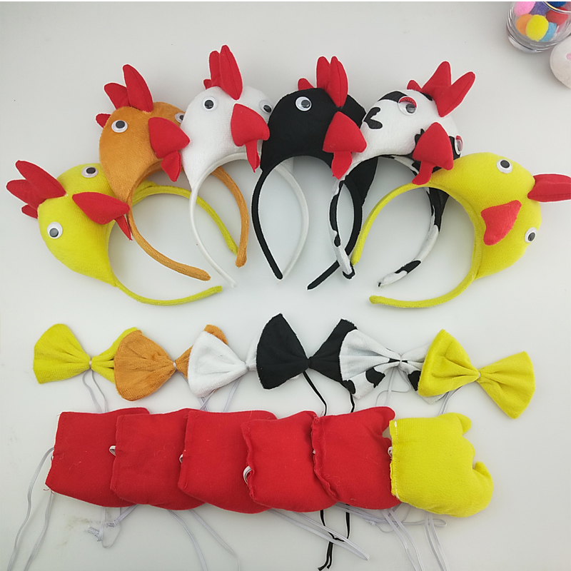 Child Adult White Chicken Chick Headband Tail Tie  Animal Cosplay Props Birthday Party Halloween Costume For Kids Carnival