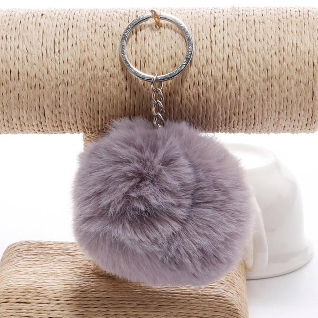 simple key chain Fur ball Pompon Keychain Pompom Artificial Rabbit Fur Animal Keychains For Woman Car Bag KeyRing 14 colors 2