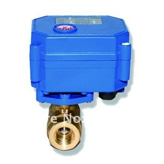 DC24V 2 Way Motorized Ball Valve, BSP 1/4'' (DN8) Electric Brass Wires control, 1.0Mpa, CE Approved