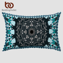 BeddingOutlet Clearance Pillowcase Decorative Body Pillow Case For Neck Paisley Printed Blue Beddding 20x30inch Pillow Cover(China)