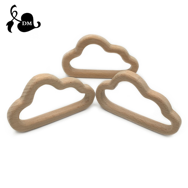 Smooth Beech Wood Baby Teether Cartoon Cloud Natural Wooden Teethers, Wood Teething Accessories, Baby Chew Toys Christmas Gifts