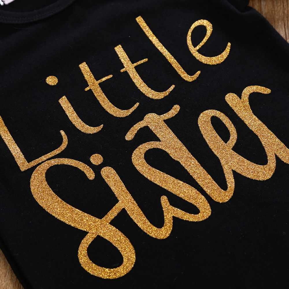 Puseky/милое платье-комбинезон для маленькой сестры, для маленьких девочек детская футболка для больших сестер, платья, наряды одинаковые комплекты для семьи для девочек и сестер