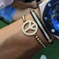 Peace charm Bracelet Women & Men handmade rope bracelet Braiding Bangle Jewelry For Women Micro CZ Paved Bracelets Pulseira
