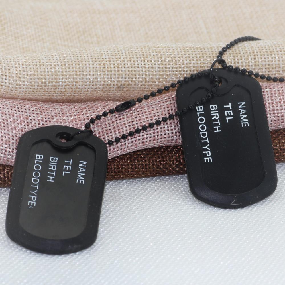 Черный четыре составных двойной карты американских солдат бренд dog tag ожерелье