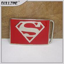 477f4214d89 Bullzine Superman film jeans cadeau ceinture boucle avec finition argent et  émail rouge FP-03156 pour 4 cm largeur ceinture de b.