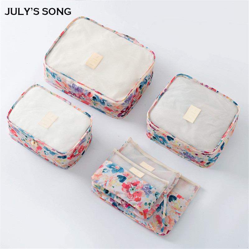 6PCS/Travel Bags New Fashion Nature Polyester Waterproof Good Quality High-capacity Travel Storage Bags For Women Men