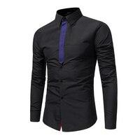 Brand 2017 Fashion Male Shirt Long-Sleeves Tops Personalized Ribbon Stitching Casual Shirt Mens Dress Shirts Slim Men Shirt XXXL