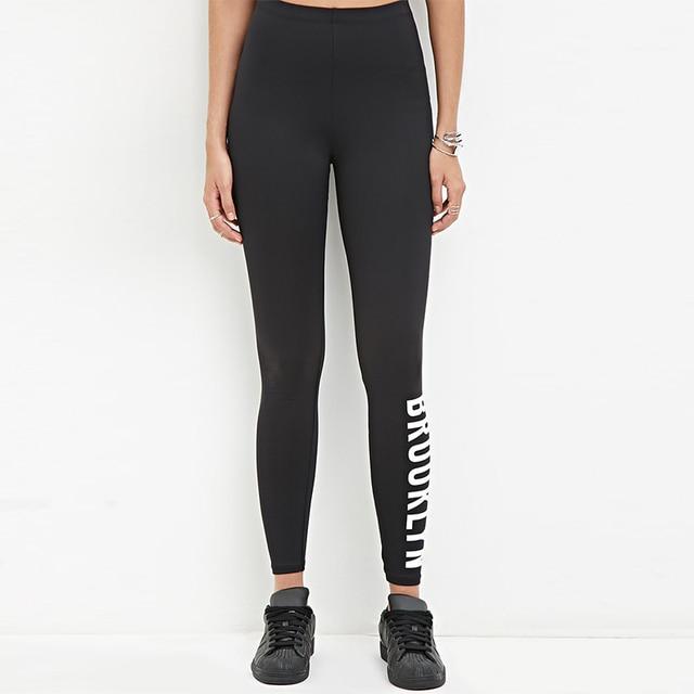 2017 summer black thin women leggings female letter print slim ankle length trousers BROOKLYN leggings