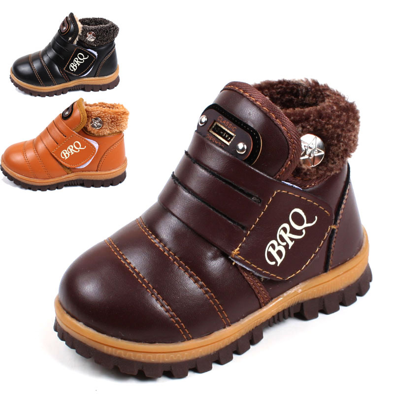 2017 New Child snow warm boots thick non-slip padded snow boots boys girls leather shoes winter boots casual shoes for kids