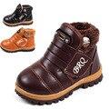 2017 Nuevo Niño botas de nieve caliente gruesa acolchada antideslizante nieve botas niños niñas zapatos botas de invierno zapatos casuales de cuero para niños