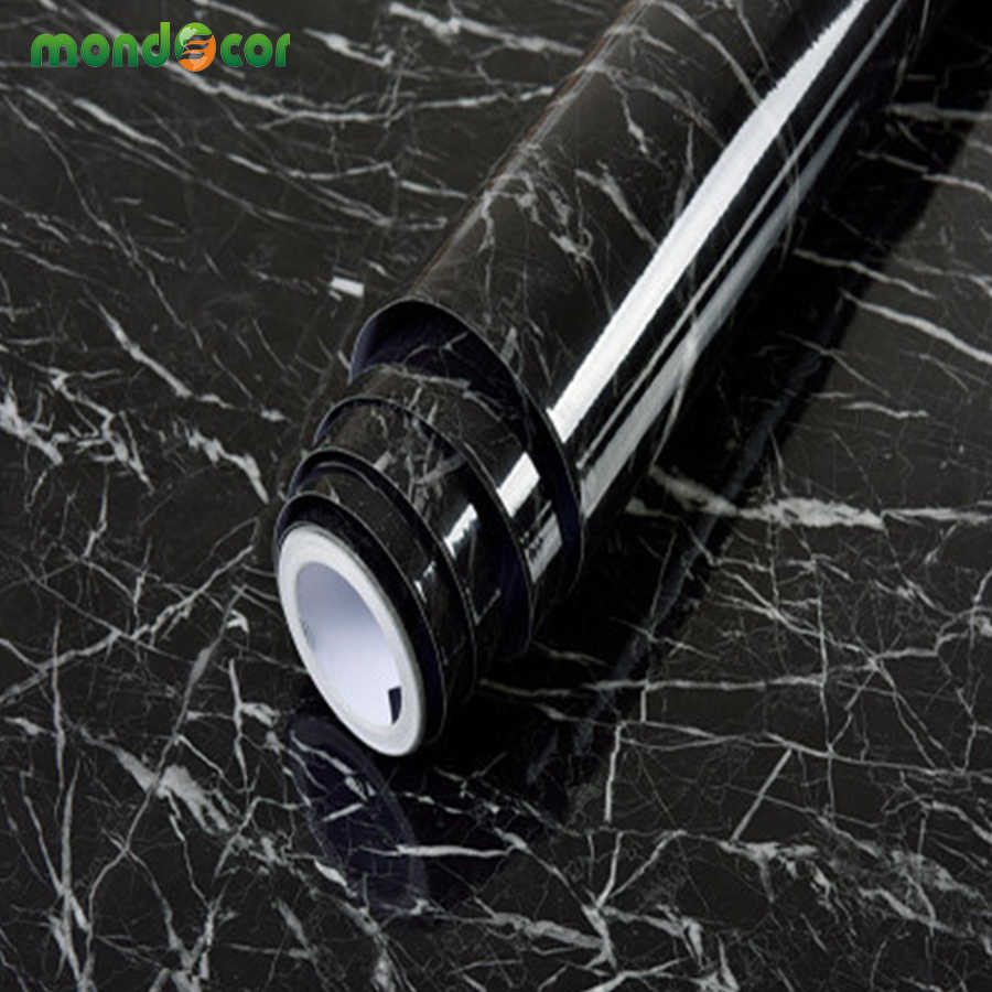 Wood Grain Marble Black Self Adhesive Wallpaper Vinyl Contact