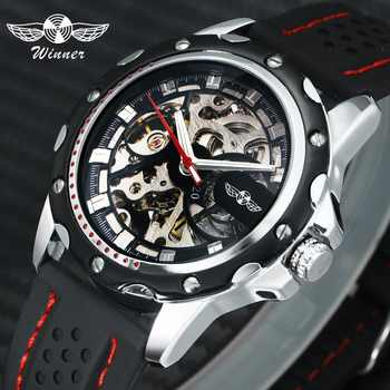 WINNER Official 2019 New Fashion Men Automatic Mechanical Watches Luxury Brand Skeleton Luminous Hands Rubber Strap Sport Clock - DISCOUNT ITEM  31% OFF All Category