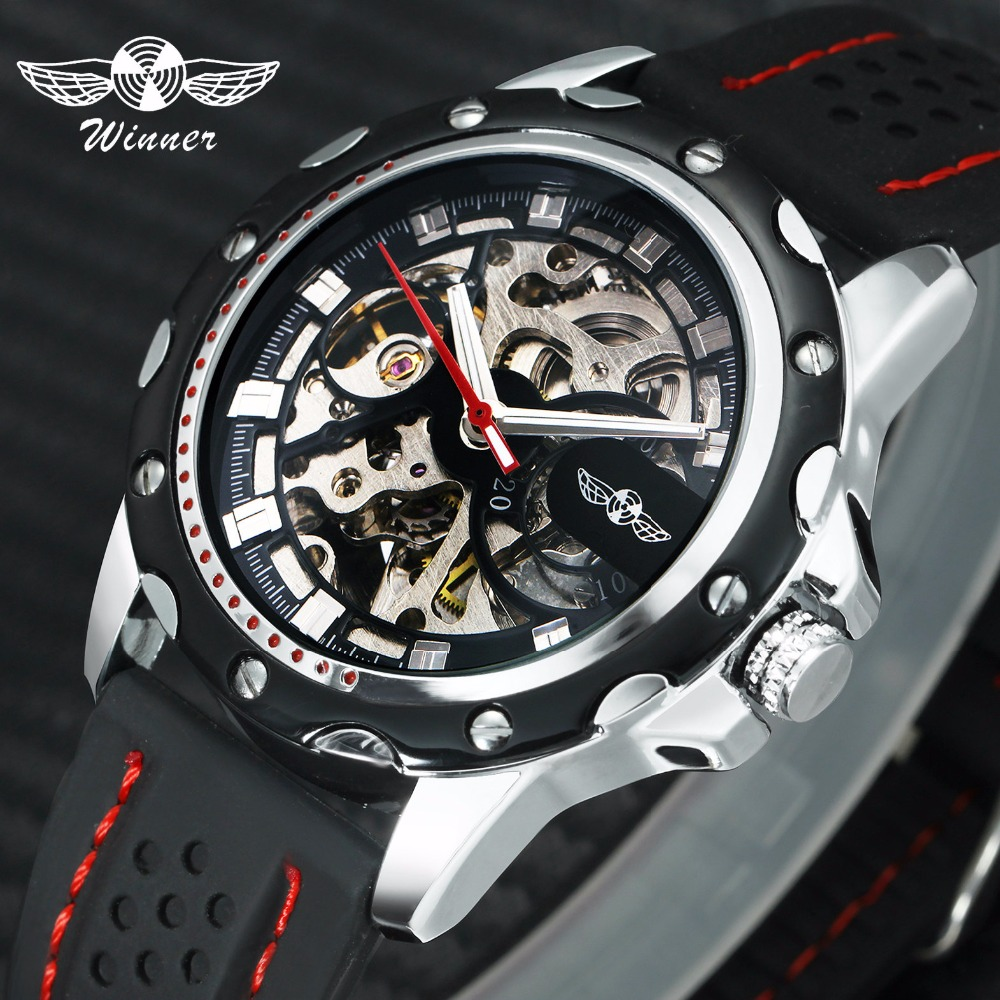 WINNER Official New Fashion Men Automatic Mechanical Watches Luxury Brand Skeleton Luminous Hands Rubber Strap Sport Clock Male