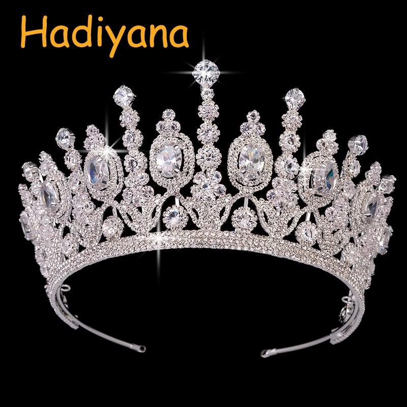 Hadiyana novo nupcial clássico couronne de mariage coroas 2018 luxo elíptico zircão festa de casamento grande coroa para mulher bc4053