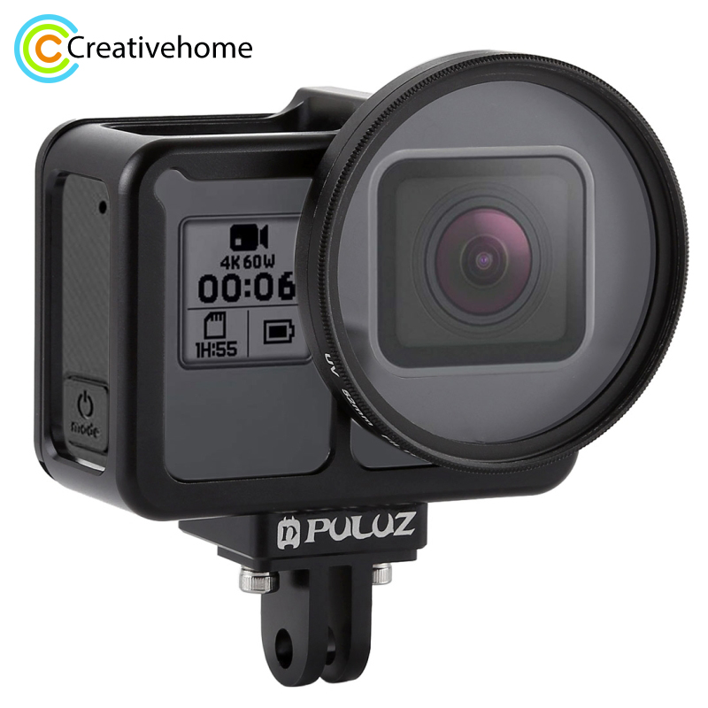 цена на PULUZ Housing Shell CNC Aluminum Alloy Protective Cage with Insurance Frame & 52mm UV Lens for GoPro HERO7 Black /6 /5